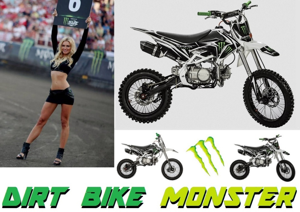 dirt bike 125cc monster energy moto cross 125cm3 grandes roues pas cher moteur yz 4 temps. Black Bedroom Furniture Sets. Home Design Ideas