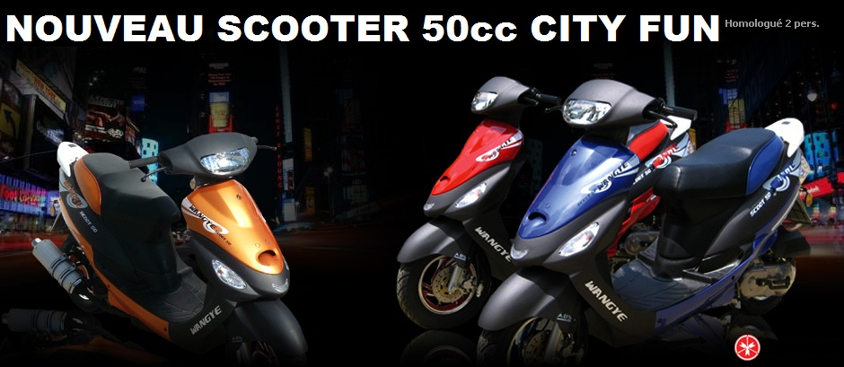 scooter 50cc city fun scooter pas cher 50 cm3 wangye neuf au prix occasion. Black Bedroom Furniture Sets. Home Design Ideas